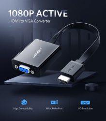 HDMI to VGA adapter átalakító kábel aktív erősítős box konverter + hang Full HD 1080p ps4