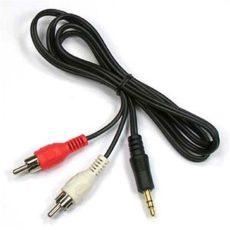1 m-es audiokábel 3,5-es jack és 2 RCA dugasz-hím 2rca - 3,5 mm-es AUX sztereo audiokábel osztó