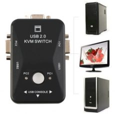 2 portos USB 2.0 VGA KVM Switch doboz a monitor billentyűzet egér megosztásához