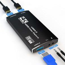 HDMI USB digitalizáló 4K 60Hz HDMI kimenet,  60FPS - USB 3.0 4K 30FPS videojáték rögzítő kártya élő streaming játékokhoz
