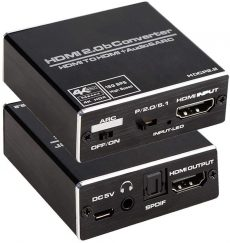 4K 4K @ 60HZ HDMI 2.0b Audio Extractor ARC átalakító adapter HDMI - HDMI + optikai Toslink SPDIF + 3,5 mm L / R AUX sztereó audio kimenet